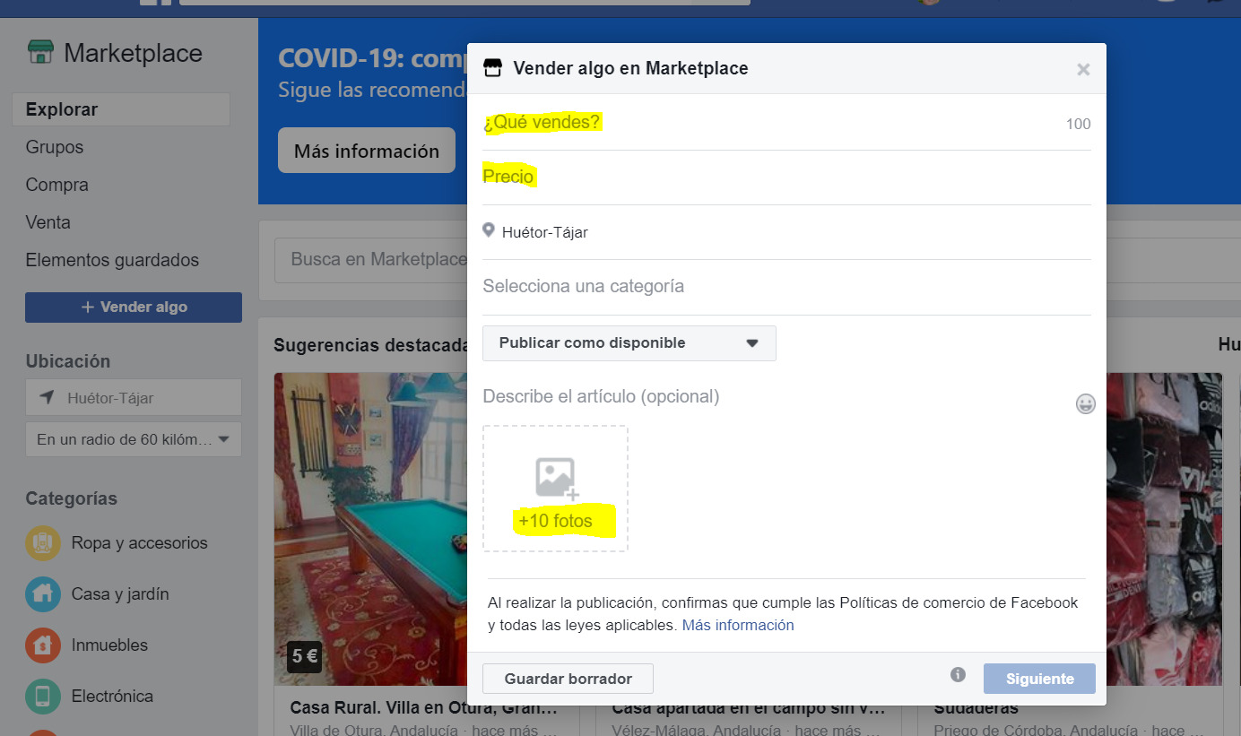 vender Marketplace Facebook